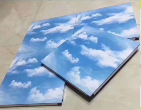 Aluminium Ceiling with blue sky and white clouds design